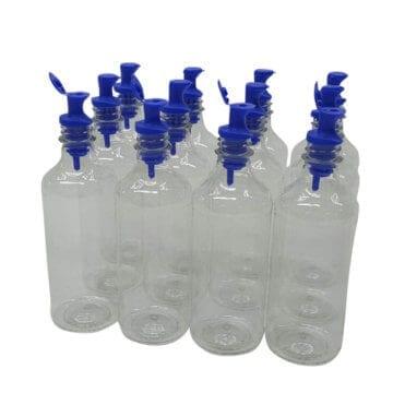 Twelve 16oz Plastic Serving Bottles w/Spout & Cap